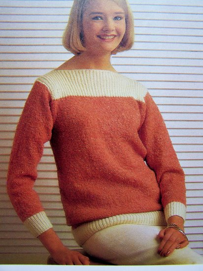 USA 1 Cent S&H Quick & Easy Fashions Vintage Knitting Pattern Two Tone Boat Neck Sweater Misses