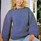 USA 1 Cent SHip Vintage Knitting Pattern Quick & Easy Dropped Stitch Sweater Misses Bust 34 - 36
