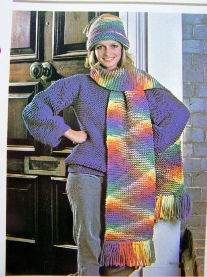 USA 1 Cent S&H 80's Vintage Knitting Pattern Rainbow Hat Fringed Winter Scarf Adult