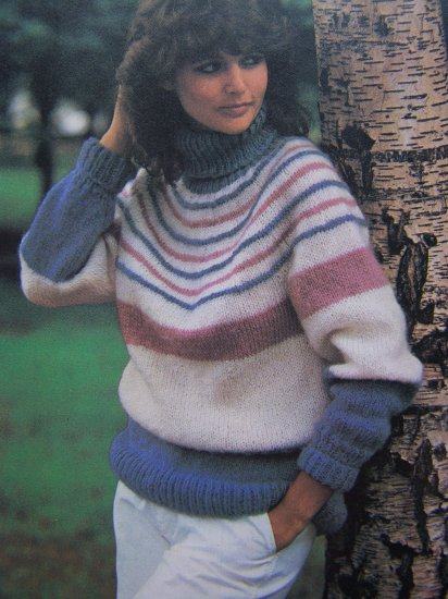 Womens Striped Turtleneck Knit Sweater Vintage Knitting Pattern Bust 32 34 36