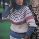 Womens Striped Turtleneck Knit Sweater Vintage Knitting Pattern Bust 32 34 36