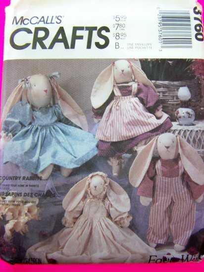 Stuffed Lop Ear Easter Bunny Doll Rabbit & Clothes Overalls Dress Vintage Crafts Sewing Pattern 3760