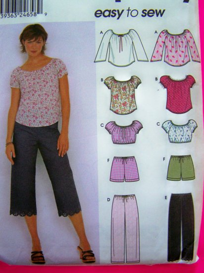Easy Peasant Top Capri Pants Shorts Sz 4 6 8 10 Midriff Shirt Sewing Pattern Simplicity 9573