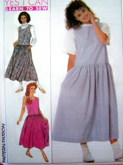 1980's Jumper Dress Drop Waist Full Skirt Sundress Plus Size 16 18 20 Vintage Sewing Pattern 9475