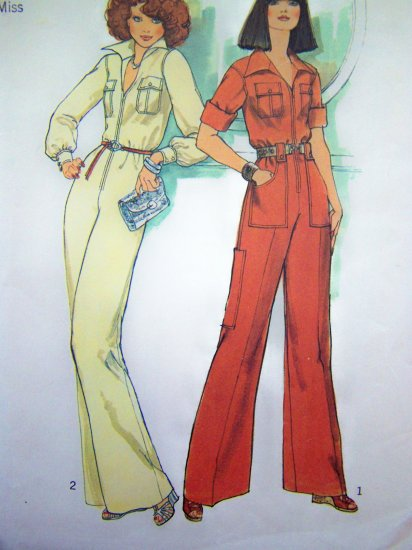 70s Vintage Disco Zip Safari JUMPSUIT B 36 Hippie Coverall Sewing Pattern 7310