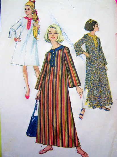 1960's Vintage Sewing Pattern Beach Dress B 34 Cover UP Patio Caftan Loungewear  8230