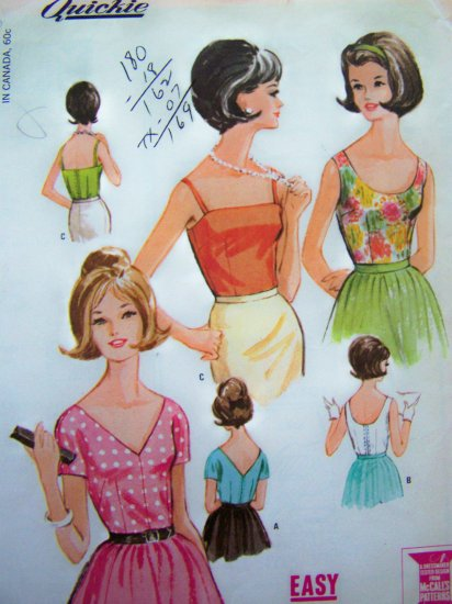 1960's Vintage Sewing Pattern Blouse Summer Straps Shirt B 36 Sz 16 Sun Tops 7292
