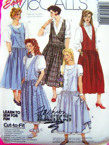 Easy Drop Waist Jumper Dress Petticoat Sundress 8 10 12 Vintage Sewing Pattern 4350