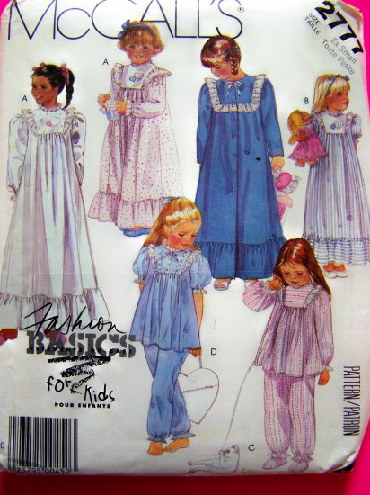 Toddler Girls 2 4 T Robe Nightgown Pajamas Pjs Booties Bag Vintage Sewing Pattern 2777
