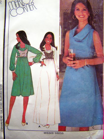 1970's Vintage Empire Short Dress Hippie Cowl Neck Back Ties B 36 Long Maxi Gown Sewing Pattern 5627