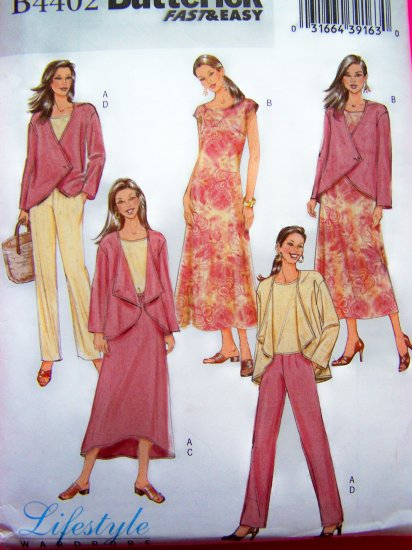 Wrap Jacket Top A Line Dress Straight Leg Pants Skirt Suit Plus Size 16 18 20 22 Sewing Pattern 4402