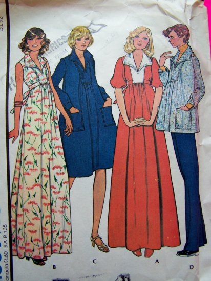 1970s Vintage Hippie MATERNITY Smock Empire Tent Dress Tie Back Top Sewing Pattern 4637