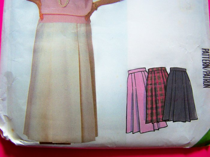 1980's Vintage Sewing Pattern Lined Skirt Front and Back Pleats Left Side Seam Zipper 25W 2073