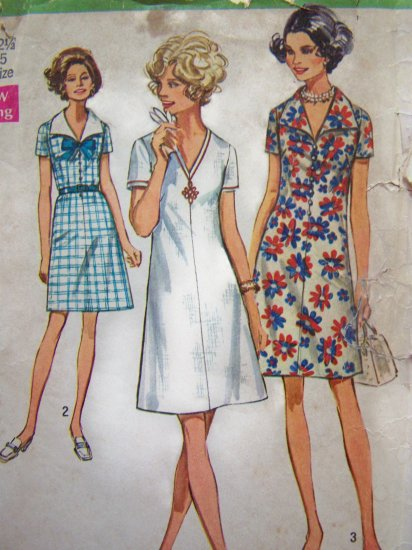 70s Vintage Dress Sailor Tie Collar V Neck Collarless A Line B 35 Sewing Pattern 8751
