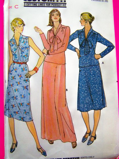 70s Vintage Tunic Top Dress Flared Skirt V Neckline Tie Sz 14 16 18 B 36 38 40 Sewing Pattern 5970