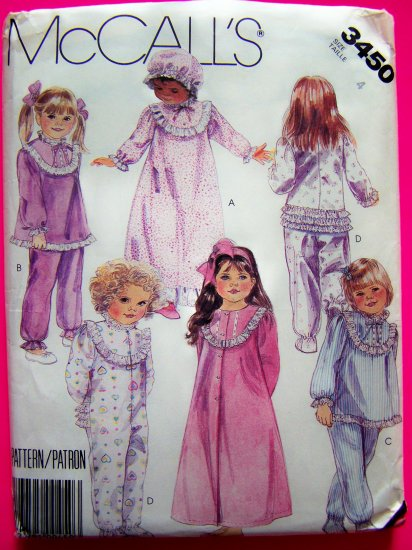 Toddlers Girls 4 T Robe Gown Pjs Pajamas Bonnet Rhumba Pants Vintage Sewing Pattern 3450