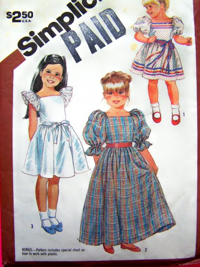 80s Girls Pullover Dress Puff Sleeves Short & Maxi Gown Sz 6 Vintage Sewing Pattern 6062