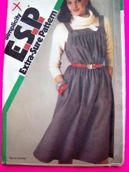 80s Vintage Pullover Jumper Dress Sundress Button Shoulder Straps Sewing Pattern 6532