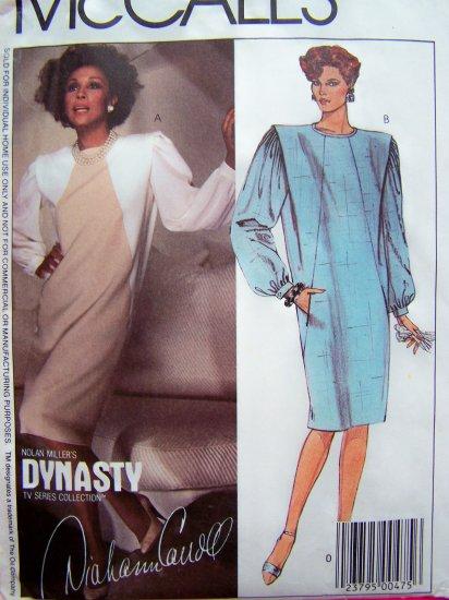 1980's Vintage Sewing Pattern Sz 8 Pullover Dress Front Back Shoulder Tucks Long Sleeves 9484