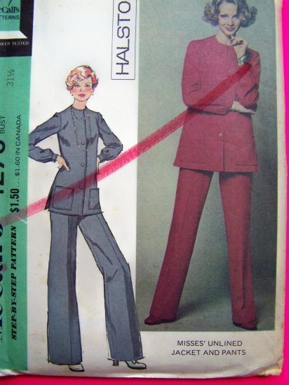 1970's Vintage Halston Unlined Jacket Side Vents Patch Pockets & Pants Suit Sewing Pattern 4273