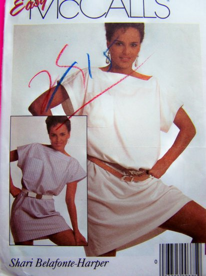 1980s Loose Slouchy Pullover Dress 2 Lengths Square Neckline B 36 38 Vintage Sewing Pattern 9119