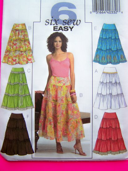 Tiered Peasant Gypsy Skirt Yoke Waist Lace Flowing Hem Sz 14 16 18 20 Sewing Pattern 4687