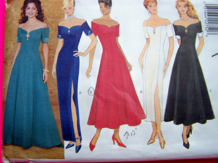 Formal Off Shoulder Evening Dress Gown B 34 Straight or Flared Boned Sewing Pattern 4301