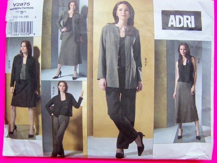Uncut Vogue ADRI Princess Seam Jacket Pullover Top Skirts Pant Suit 12 14 16 New Sewing Pattern 2875