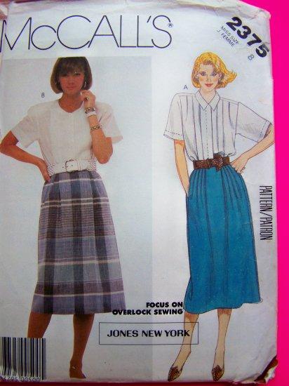 1980's Blouse & Skirt Misses Sz 8 Vintage Sewing Pattern 2375