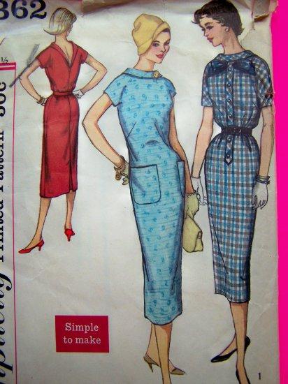 Mod 60's Vintage Dress High Round Neckline V Back B 31.5 Wiggle Sewing Pattern 2362