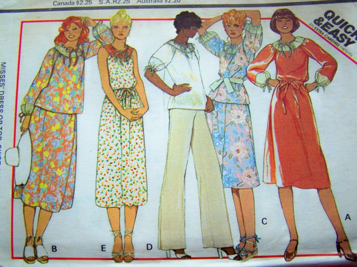 70's Vintage Pullover Dress Tunic Top Skirt Pants Hippie Easy 10 12 Small Sewing Pattern 5974