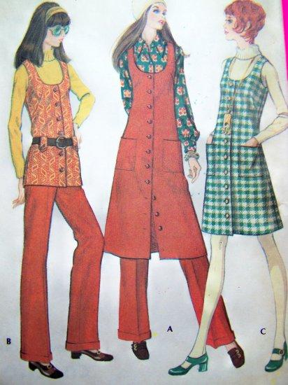 1970's Vintage Hippie Jumper Dress Tunic Vest Cuffed Pants B 38 Sz 16 Vintage Pattern 2569