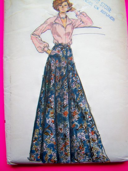 Vintage Vogue Long Maxi Skirt Wing Collar Puffed Top Shirt Sz 16 B 38 Easy Sewing Pattern 9046