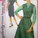 Vintage V Jumper Dress Full Flared & Pencil Gore Skirt Dart Fitted Top & Waist Sewing Pattern 5209