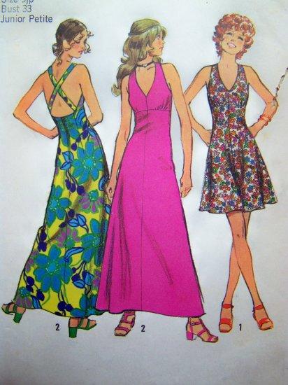 70's Vintage Empire Mini or Maxi V Neck Halter Dress Sundress Babydoll B 33 Sewing Pattern 5037
