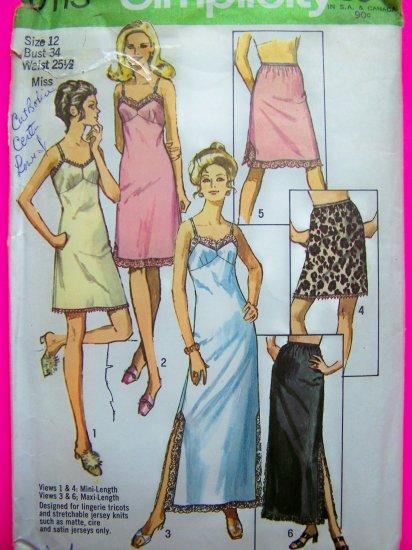 1970's Vintage Slip Half & Full 3 Length B 34 Lingerie Fabric Sewing Pattern 9115