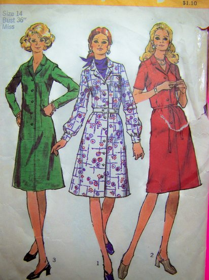70's Vintage Sewing Pattern Shirt Dress B 36 Sz 14 Step In Dresses 3 Sleeves 9703