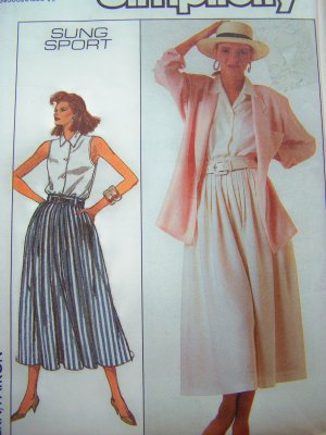 1980s Flowing Pleated Skirt Sleeveless Blouse Shirt Jacket B34 Vintage Sewing Pattern 8057