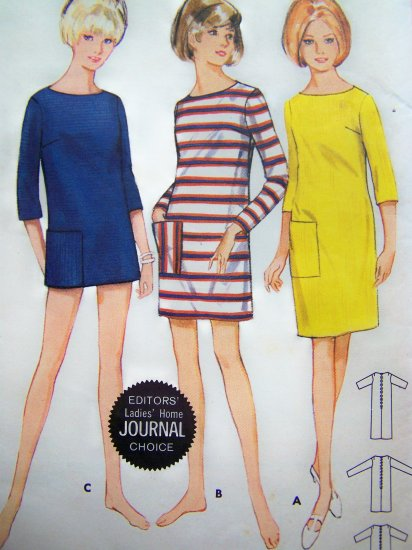 Mod 60s Vintage Cover Up Dress Mini Street or Short Length Beach B 31 32 Easy Sewing Pattern 4452