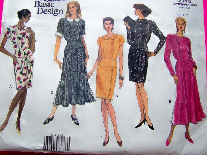 New Vogue Dress Overlay Drape Flared or Slim Skirt 12 14 16 Basic Design Sewing Pattern 2715