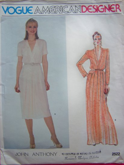 Vintage Vogue American Designer John Anthony A Line Dress Short or Evening Gown  Sewing Pattern 2522
