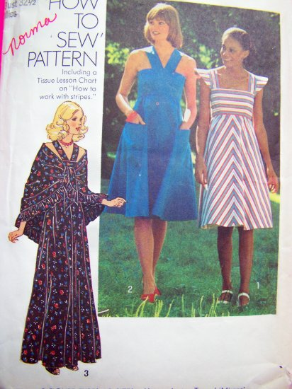 Vintage Sundress Hippie Shawl Sun Dress Puffed Sleeve or Straps Sewing Pattern 7332