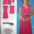 80s Easy Pullover Slim Deep V Neck Dress Left Side Hem Slit Sz 6 8 VIntage Sewing Pattern 9521