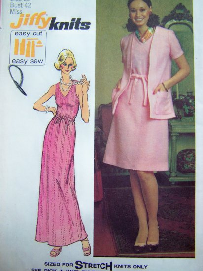 1970's Vintage V Neck Dress Sundress Gown Unlined Cardigan Plus Size 20W B 42 Sewing Pattern 5612