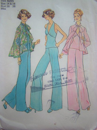 1970's Vintage Empire Fitted Halter Top Wide Leg Pants Overblouse Sz 14 & 16 Sewing Pattern 7012