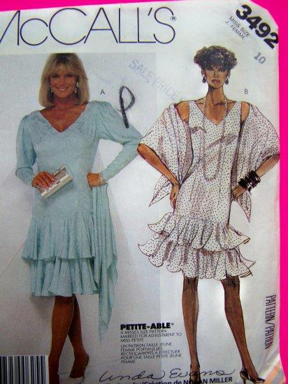 80's Dress Sundress Tiered Circle Flounce Skirt & Stole Wrap B 32.5 Vintage Sewing Pattern 3492