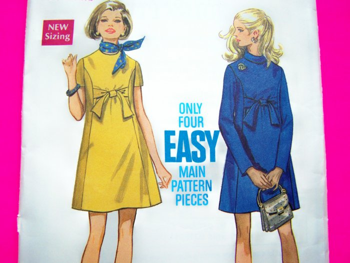 1960's Mod Vintage Maternity Dress A Line Empire Belt Tie Bow Easy Sewing Pattern 5520