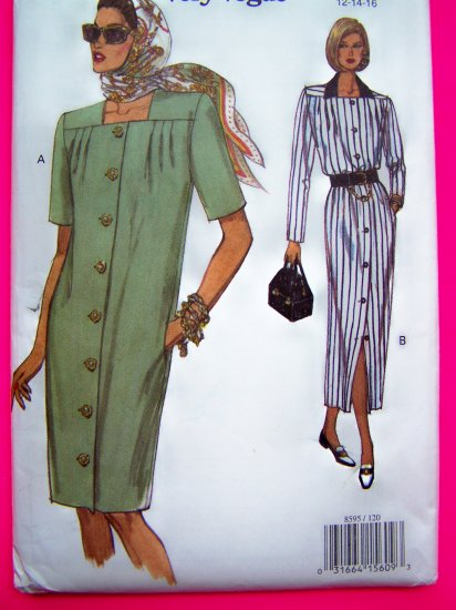 Vogue Dress Tapered Skirt Bust  34 36 38 Sizes 12 14 16 Easy Uncut Sewing Pattern 8595 OOP