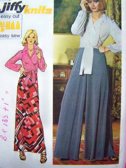 1970's Vintage Wrap Top Palazzo Pants Long Maxi Skirt B 34 Sz 12 Jiffy Sewing Pattern 6020