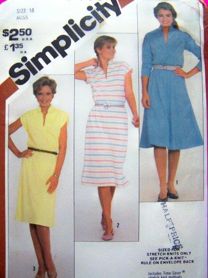 Pullover Dress Flared Slim Skirt Funnel Neck B 38 Sz 16 Cap Long Sleeve Vintage Sewing Pattern 5444